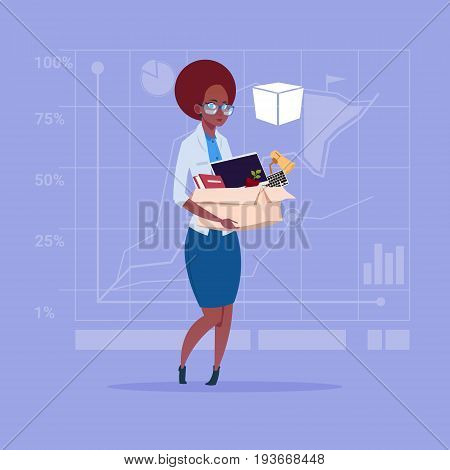 Afrian American Business Woman Hold Box With Office Stuff Search For Job Position Vacancy Unemployment Concept Flat Vector Illustration