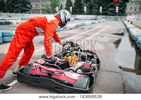 Kart racer on start line, go cart driver