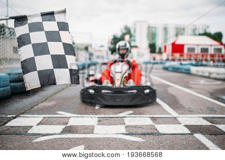 Carting racer on start line, front view
