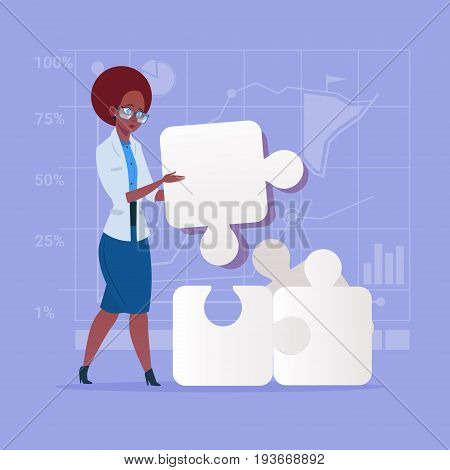 African American Business Woman Solve Puzzle Solution Concept Flat Vector Illustration