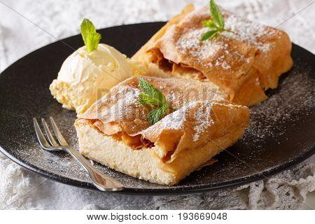 Sliced Cheese Strudel With Vanilla Ice Cream Close-up. Horizontal