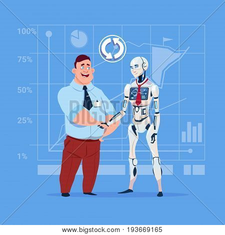 Business Man And Modern Robot Shaking Hands Artificial Intelligence Cooperation Concept Flat Vector Illustration