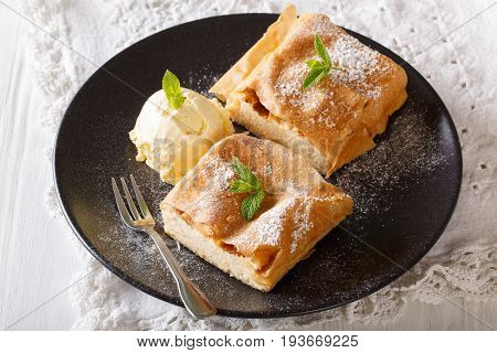 Two Pieces Of Strudel With Cottage Cheese, And Vanilla Ice Cream Close-up. Horizontal