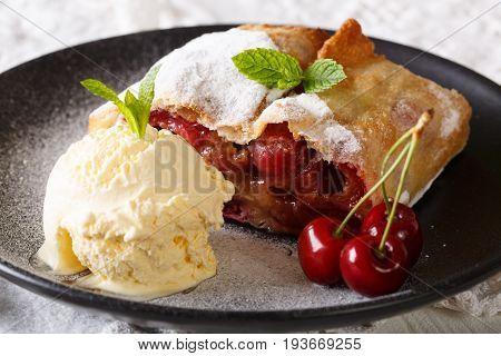 Juicy Cherry Strudel With Vanilla Ice Cream And Mint Closeup. Horizontal
