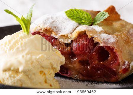 Crispy Cherry Strudel And Vanilla Ice Cream Macro. Horizontal