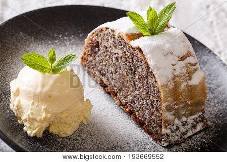 Austrian Sweet Poppy Strudel With Vanilla Ice Cream Macro On A Plate. Horizontal