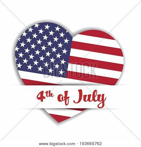 Independence Day Card. US flag in a shape of heart in the paper pocket with label 4th of July. Patriotic USA independence theme. Vector illustration.