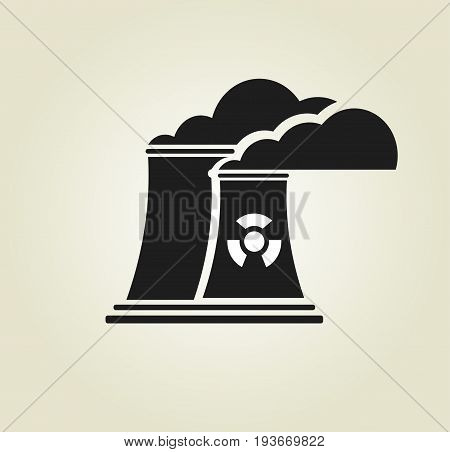 Black and white factory icon. Nuclear hazard symbol. Vector