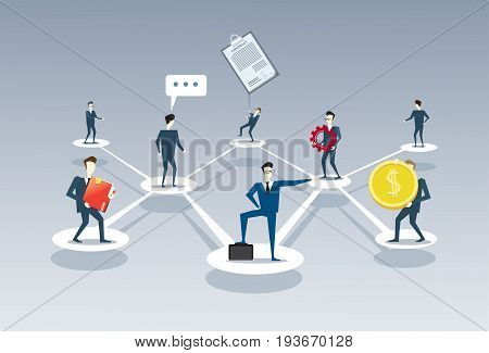 Business Team Company Management Organisation Chart Businesspeople Group People Teamwork Connection Concept Vector Illustration