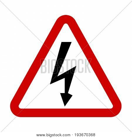 High Voltage Sign. Danger symbol. Black arrow isolated in red triangle on white background. Warning icon. Vector illustration