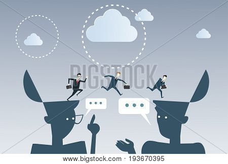 Businessmen Over Open Heads Thinking Business Ideas Inspiration, Creative Process Concept Brainstorming Flat Vector Illustration