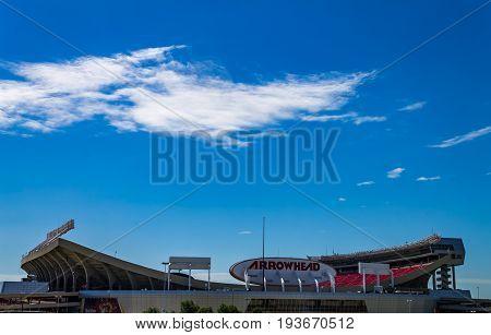 Kansas city Missouri United States- 6/26/2017 Arrowhead stadium home of the Kansas city Chiefs NFL football team