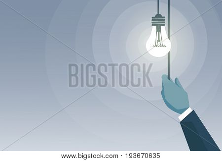 Business Man Hand Switching Light Bulb New Creative Idea Concept Flat Vector Illustration