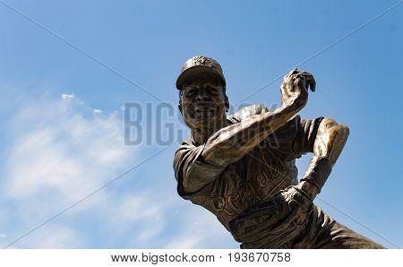 Kansas city Missouri United States- 6/26/2017 Frank White jr. Royals hall of fame second baseman bronze statue at Kauffman stadium