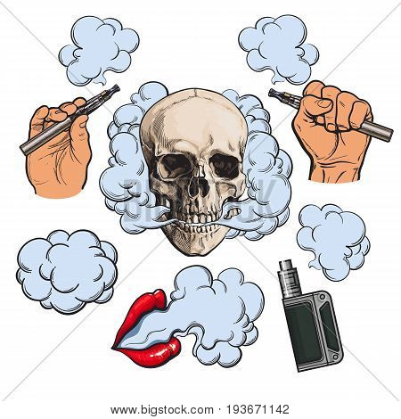 Vaping related elements, symbols - smoke, skull, vaporizer, e-cigarette, sketch vector illustration isolated on white background. Vaping - hand holding e-cigarette, vaporizer, smoking lips, skull