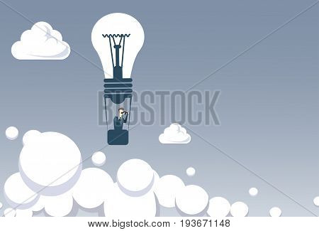 Business Man Fly On Light Bilb Air Balloon Hold Binocular Looking For Successful Future Concept Flat Vector Illustration