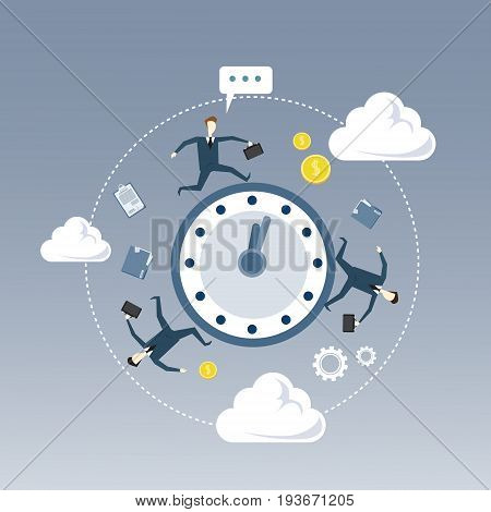 Business People Group Turning Around Alarm Clock Deadline Time Management Concept Flat Vector Illustration