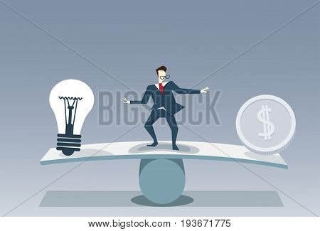 Businessman Balancing Between Light Bulb And Money Coin Risk Business Stability Concept Vector Illustration