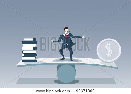 Businessman Balancing Between Books Stack And Money Coin Risk Business Stability Concept Vector Illustration