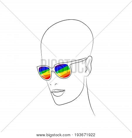 Stylized face with glasses using original colors rainbow . Unconventional sexual orientation for LGBT gay and lesbian parade. Vector t-shirt print design