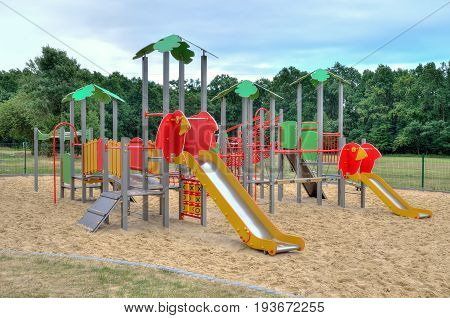 Playground for children. Playground near a new housing estate.