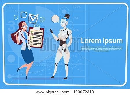 Modern Robot Communicating With Female Business Woman Futuristic Artificial Intelligence Technology Concept Flat Vector Illustration
