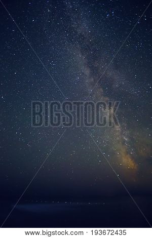 Landscape with Milky way galaxy. Night sky with stars and sea.