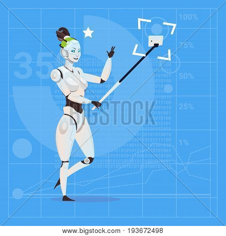 Modern Robot Female Taking Selfie Photo Futuristic Artificial Intelligence Technology Concept Flat Vector Illustration
