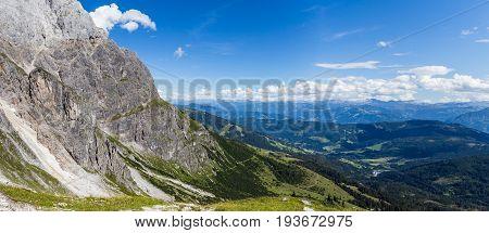Austrian Alps near Salzburg, Austria. Panoramic view of the mountain.