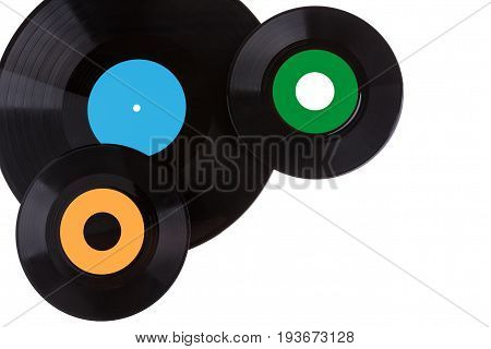 Old gramophone vinyl records isolated on white background