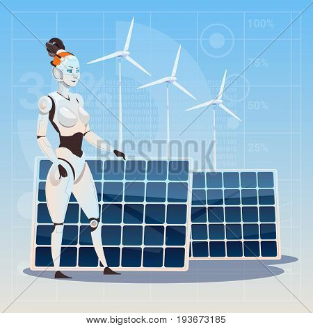 Modern Robot Female Over Wind Turbine And Solar Panels Renewable Energy Artificial Intelligence Technology Concept Flat Vector Illustration