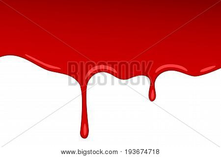 Vector drip red blood jam. Paint vector splash and splatter like strawberry syrup or ketchup transparent Background. Cartoon style.