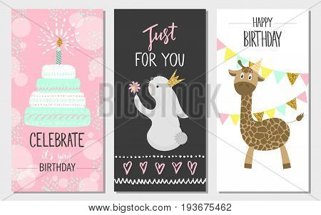 Happy birthday greeting cards and party invitation templates vector illustration