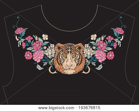 Embroidery for neckline, collar for T-shirt, blouse, shirt. Pattern of flowers and tiger. Stock vector illustration. On black background.