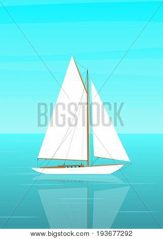 Sailboat in the open sea. The sailboat and the reflection in the water. Vector illustration in flat style
