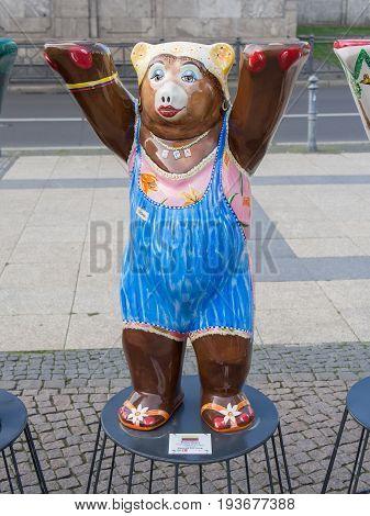 BERLIN GERMANY - JULY 3 2017: United Buddy Bears: Colombia Bear At Wittenbergplatz Square In Berlin