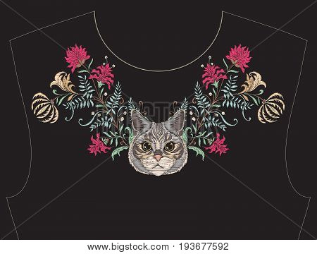 Embroidery for neckline, collar for T-shirt, blouse, shirt. Pattern of flowers and cats. Stock vector illustration. On black background.