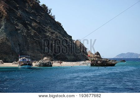 Antalya, Turkey - September 19, 2016: Suluada is a Mediterranean island of Turkey. The name Suluada is a composite word meaning