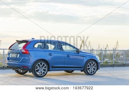 St. Petersburg Russia - June 17 2017: A modern luxury swedish car Volvo XC60 R-Design Polestar Edition on the roof of the building on a test drive in St. Petersburg June 17 2017