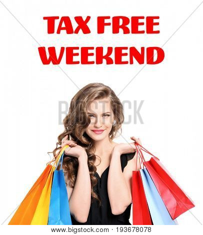 Young woman with paper bags and text TAX FREE WEEKEND on white background