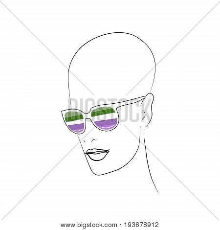Stylized face with glasses using original colors for queer. Unconventional sexual orientation for LGBT gay and lesbian parade. Vector t-shirt print design
