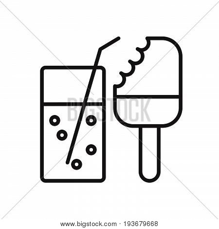 Cola and ice cream line icon outline vector sign linear style pictogram isolated on white. Symbol logo illustration. Editable stroke. Pixel perfect graphics