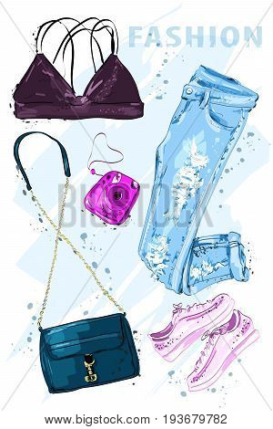 Summer fashion set. Fashion outfit. Stylish trendy clothing. Fashion summer girl clothes set, accessories. Woman's fashion look. Sketch. Vector illustration.