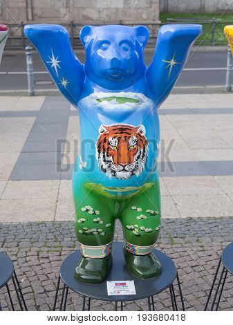 BERLIN GERMANY - JULY 3 2017: United Buddy Bears: North Korea Bear At Wittenbergplatz Square In Berlin