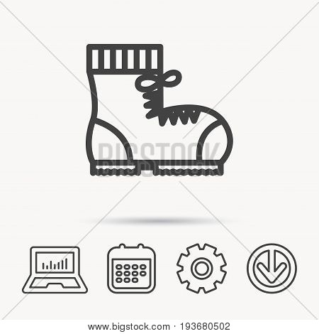 Boot icon. Hiking or work shoe sign. Military footwear symbol. Notebook, Calendar and Cogwheel signs. Download arrow web icon. Vector