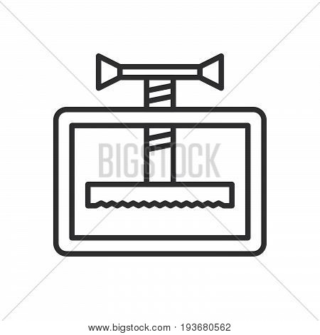 Manual press machine line icon outline vector sign linear style pictogram isolated on white. Compress symbol logo illustration. Editable stroke. Pixel perfect graphics