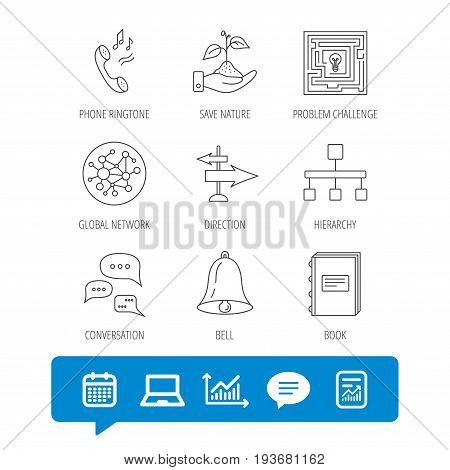 Conversation, global network and direction icons. Save nature, maze and book linear signs. Bell and phone ringtone flat line icons. Report file, Graph chart and Chat speech bubble signs. Vector