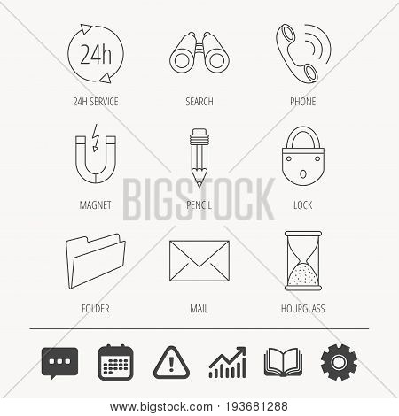 Phone call, pencil and mail icons. Search, 24h support and folder linear signs. Hourglass, magnet energy flat line icons. Education book, Graph chart and Chat signs. Vector