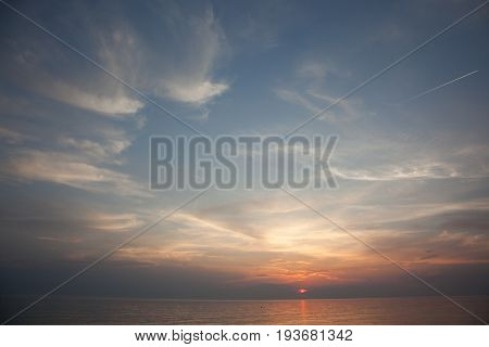 Sea Scape Scene In The Ocean, Beach Ocean Sunset Landscape. Bright Dramatic Sky And Dark Ground. Cou
