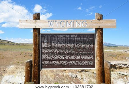 CODY, WYOMING - JUNE 24, 2017: Colters Hell sign. The area of thermal activity, is named for John Colter the mountain man and explorer possibly the first white-man to have traveled this area.
